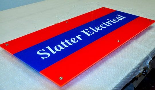 acrylic and perspex sign with vinyl