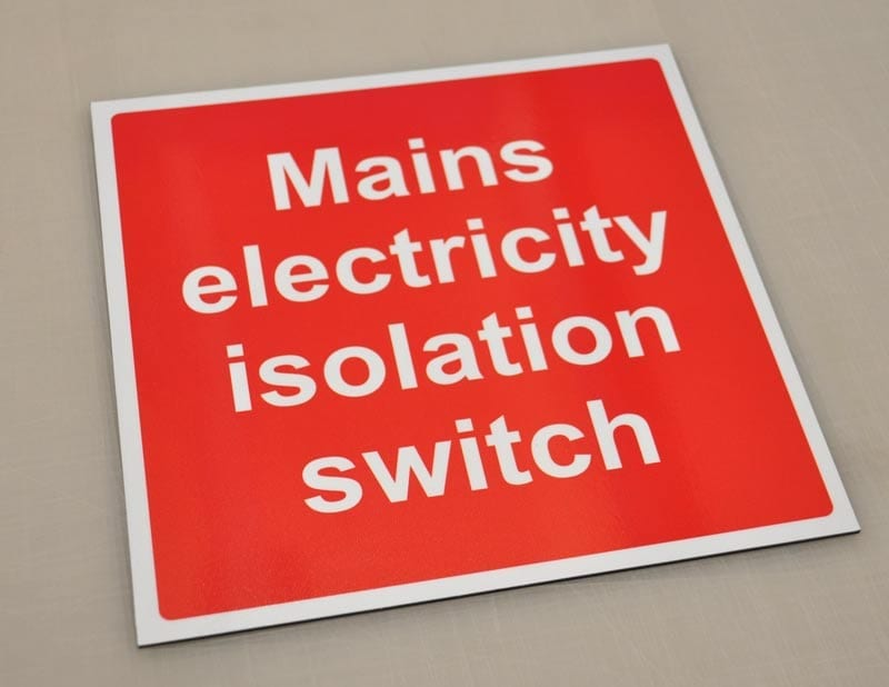 Electricity isolation switch safety sign