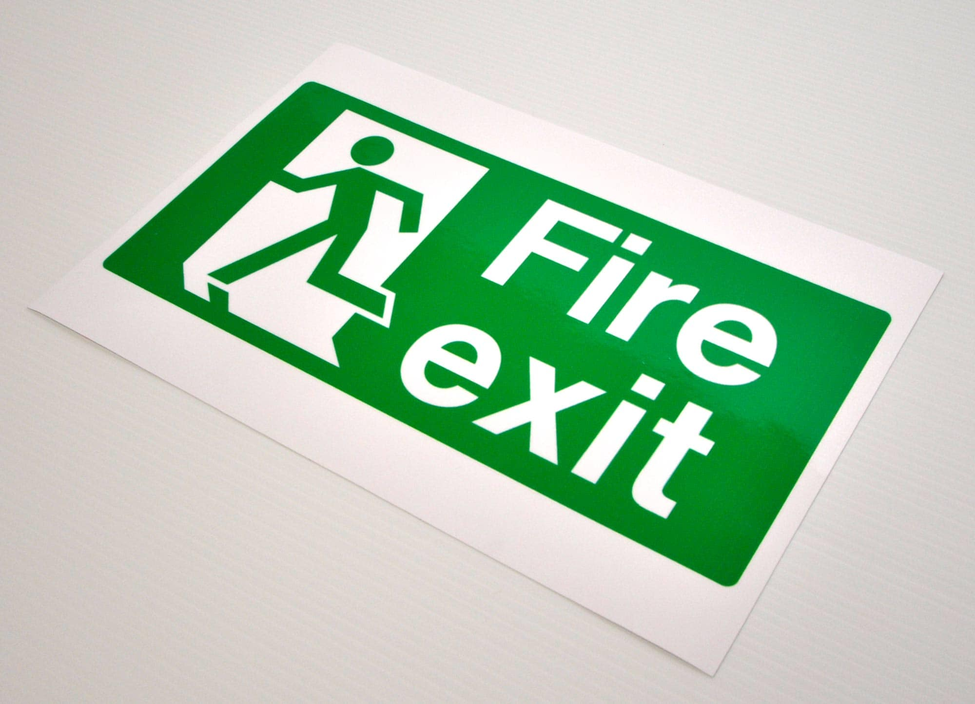 Digitally printed fire exit sign