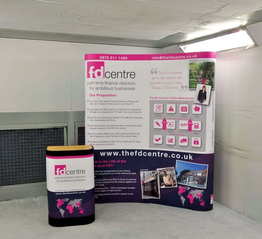 Pop up exhibition stand with case graphic