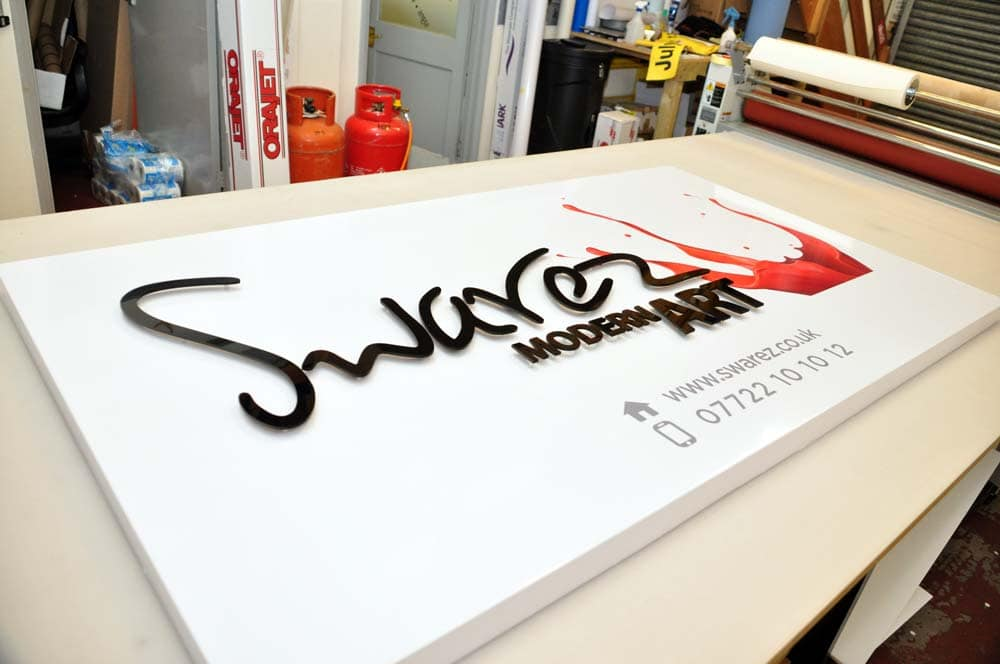 shop sign tray with flat cut letters