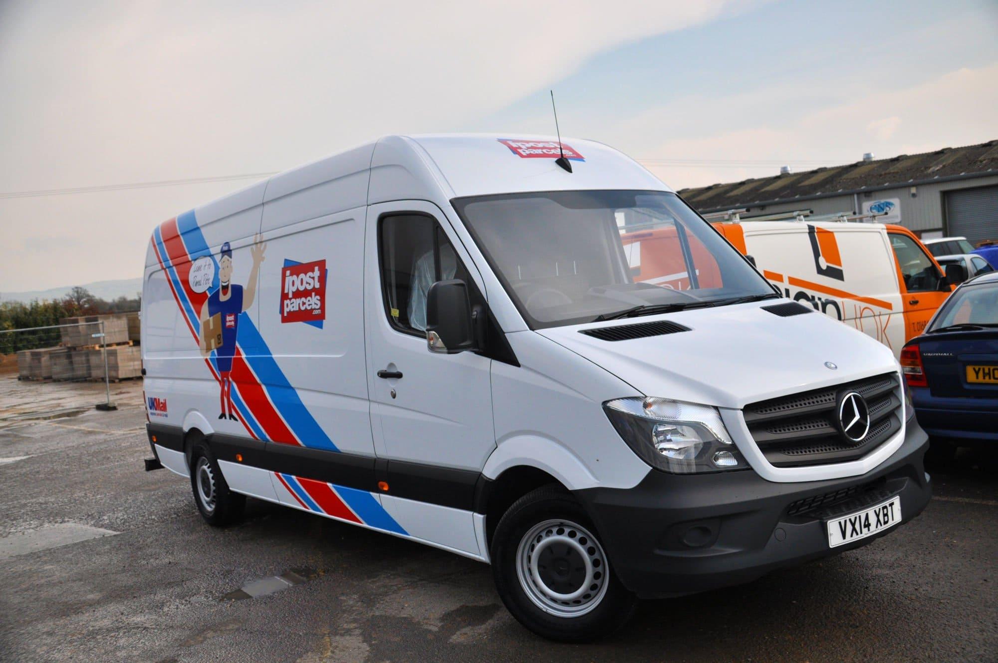 Vinyl vehicle graphics for a mercedes van