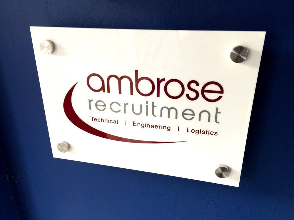 white acrylic perspex sign