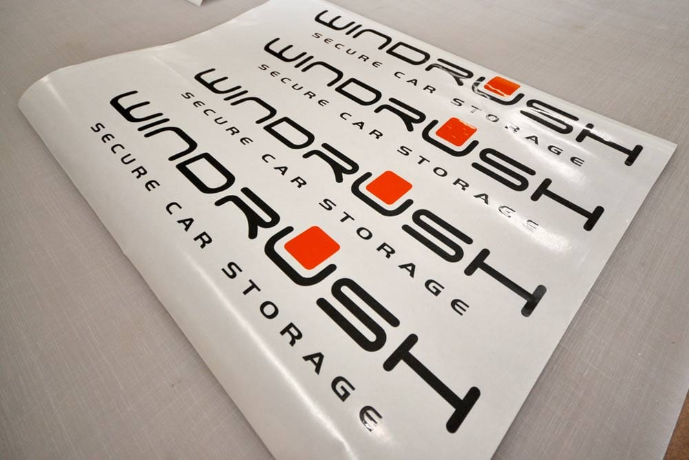Vinyl decals cut from two colour vinyl