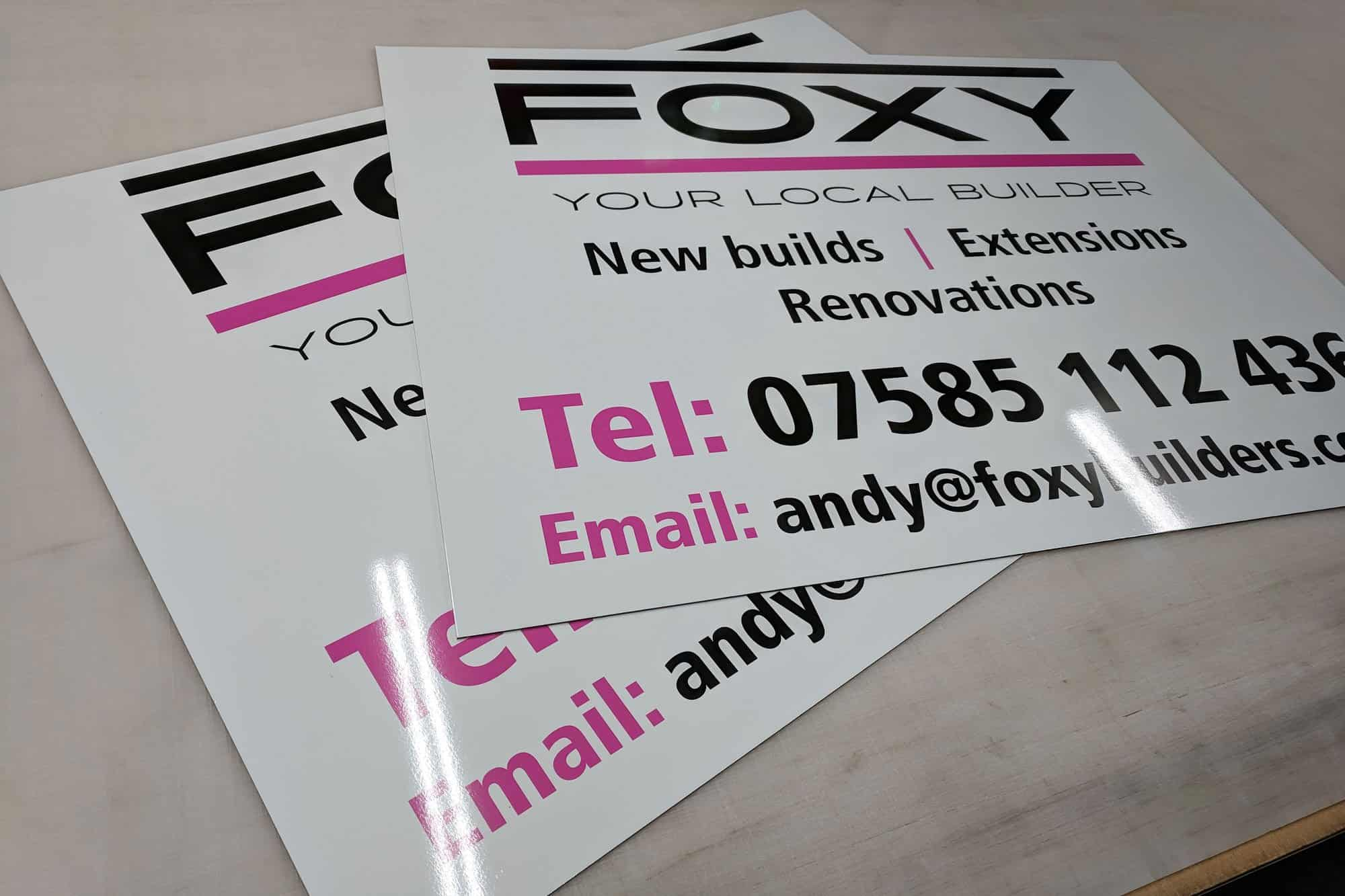 Foxy Builders Dibond Site Sign