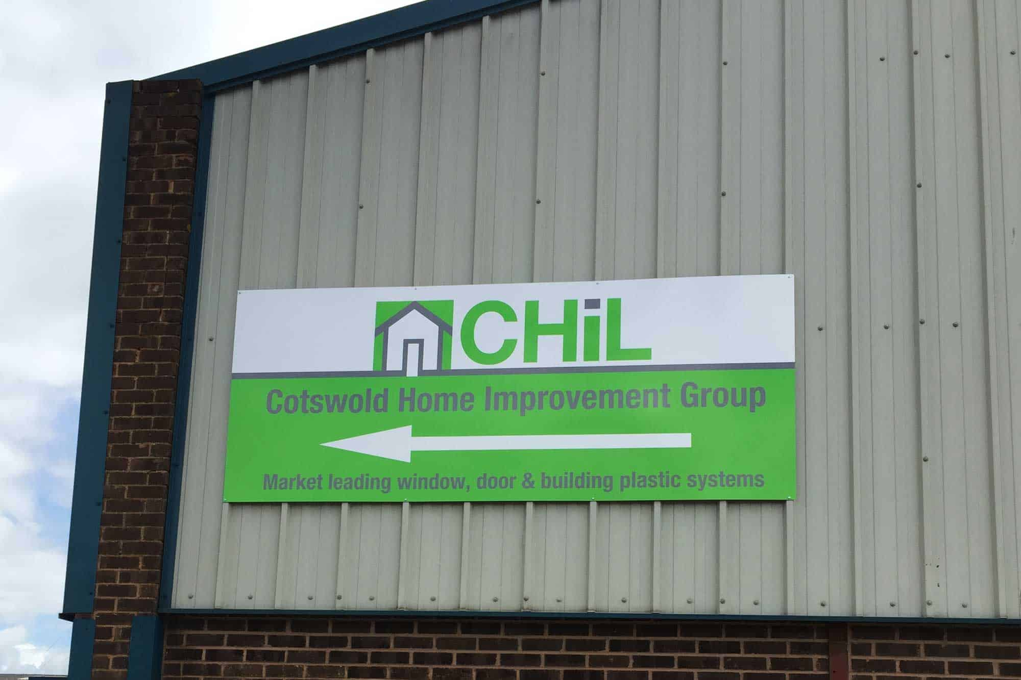 Industrial Sign on to cladding