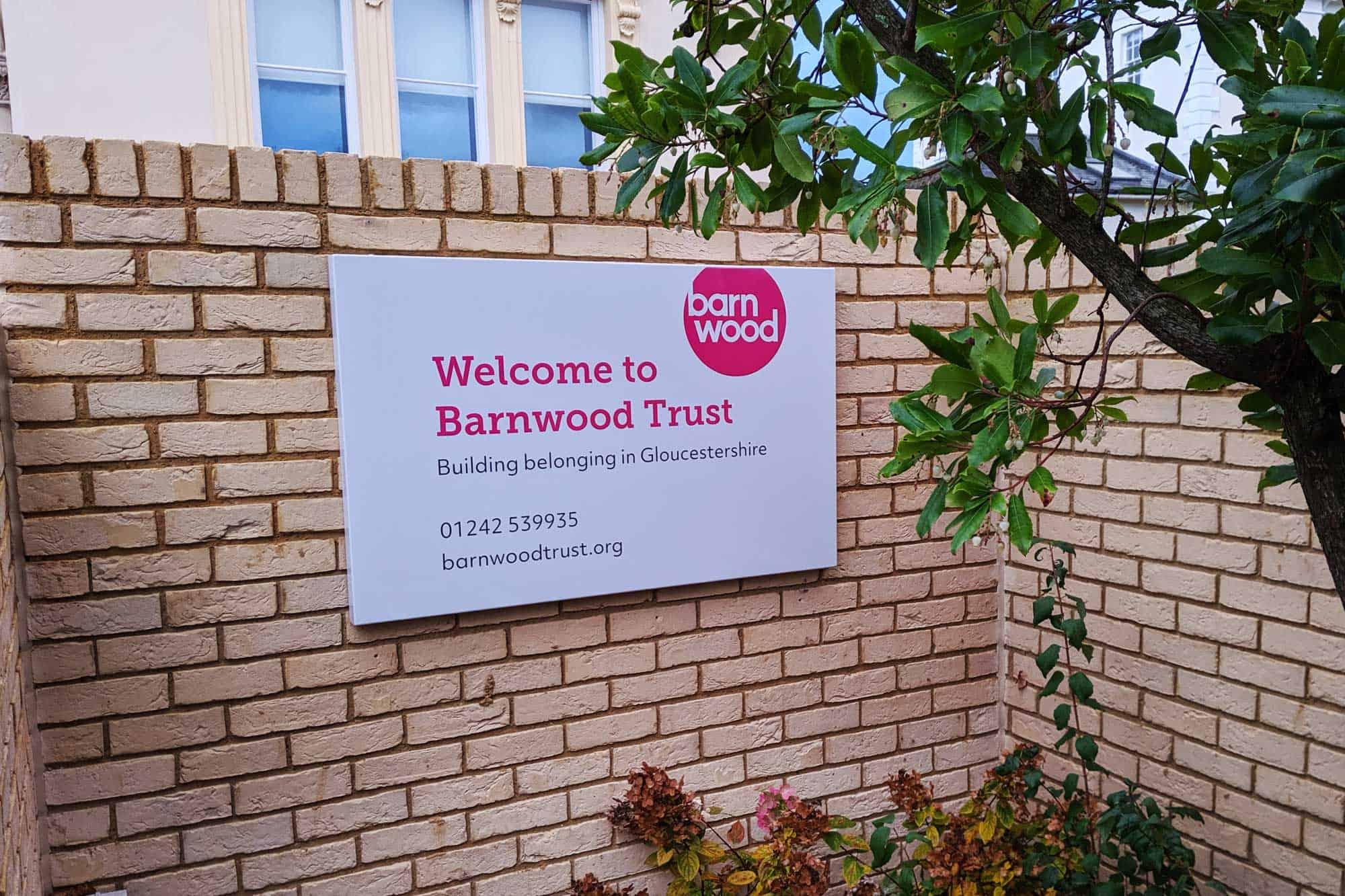 Barnwood Trust Signage aluminium signtray