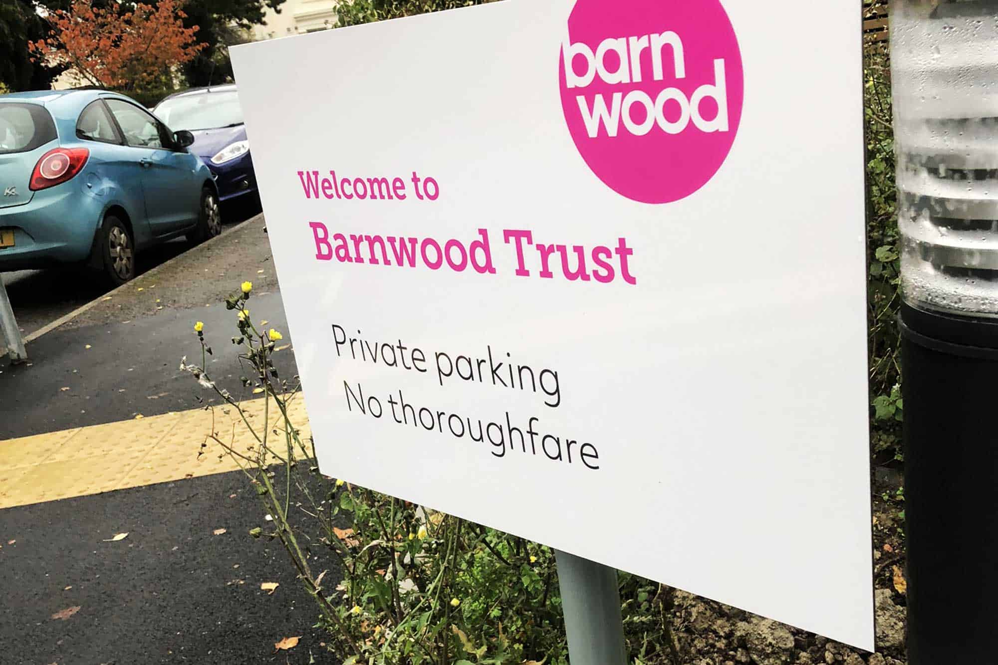 Barnwood Trust Signage post mounted sign