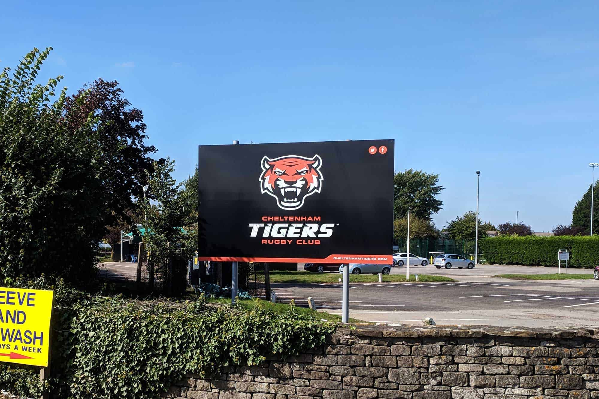 Post mounted Tigers signage