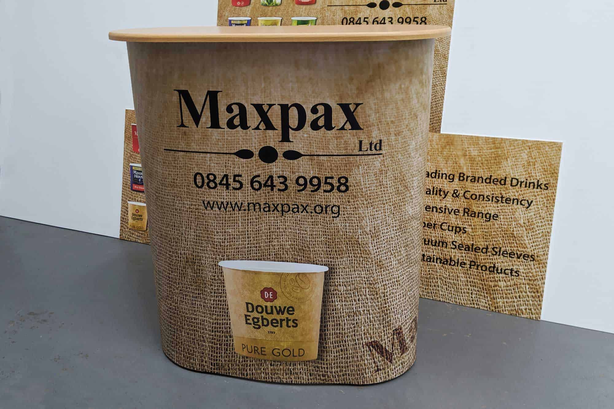 Maxpax exhibition stand table branding